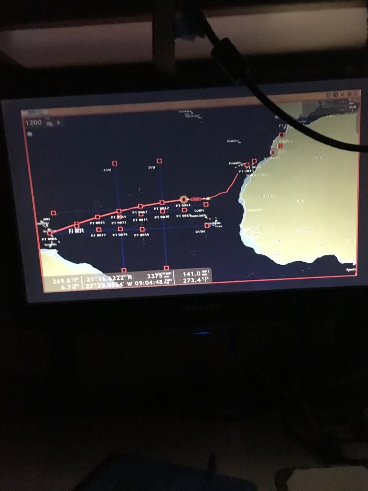 Atlantic ocean crossing route